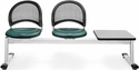Moon 3-Beam Seating with 2 Teal Vinyl Seats and 1 Table - Gray Nebula Finish [333T-VAM-602-GY-MFO]