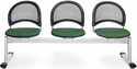 Moon 3-Beam Seating with 3 Fabric Seats - Forest Green [333-2221-MFO]