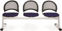 Moon 3-Beam Seating with 3 Fabric Seats - Navy [333-2203-MFO]