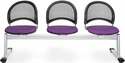 Moon 3-Beam Seating with 3 Fabric Seats - Plum [333-2214-MFO]