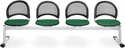 Moon 4-Beam Seating with 4 Fabric Seats - Forest Green [334-2221-MFO]