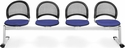 Moon 4-Beam Seating with 4 Fabric Seats - Royal Blue [334-2210-MFO]