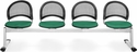 Moon 4-Beam Seating with 4 Fabric Seats - Shamrock Green [334-2201-MFO]