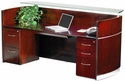 Napoli Reception Station with One Box Box File Pedestal and One File File Pedestals - Sierra Cherry on Cherry Veneer [NRSBF-MAY]