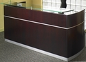 Napoli Reception Station with No Pedestals - Mahogany on Walnut Veneer [NRSMAH-FS-MAY]