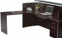 Napoli Reception Station with One Box Box File and Universal ADA Return - Mahogany on Walnut Veneer [NRSLBAMAH-FS-MAY]