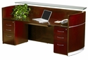 Napoli Reception Station with Two Box Box File Pedestals - Sierra Cherry on Cherry Veneer [NRSBBCRY-MAY]