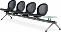 Net 4 Seats and 1 Glass Table Beam - Black [NB-5G-BLACK-MFO]