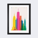 New York City by Yoni Alter Artwork on Fine Art Paper with Black Matte Hardwood Frame - 16''W x 24''H x 1''D [YAL57-1PFA-24X16-FM01-ICAN]