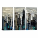 New York Moment by Silvia Vassileva Triptych Gallery Wrapped Canvas Artwork - 60''W x 40''H x 0.75''D [WAC1319-3PC3-60X40-ICAN]