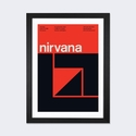Nirvana at Community World: March 19th,1988 by Swissted Artwork on Fine Art Paper with Black Matte Hardwood Frame - 24''W x 32''H x 1''D [SWI11-1PFA-32X24-FM01-ICAN]