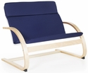 Nordic Couch with Removable Cushion and Steam-Bent Plywood Construction - Blue - 36''W x 24''D x 30''H [G6452K-FS-GUI]