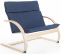 Nordic Couch with Removable Cushion and Steam-Bent Plywood Construction - Denim - 36''W x 24''D x 30''H [G6614K-FS-GUI]