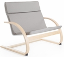 Nordic Couch with Removable Cushion and Steam-Bent Plywood Construction - Gray - 36''W x 24''D x 30''H [G6615K-FS-GUI]