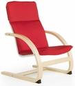 Nordic Rocker with Removable Cushion and Steam-Bent Plywood Construction - Red - 20''W x 24''D x 30''H [G6434K-FS-GUI]
