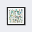 Ocean Garden I Square by Candra Boggs Artwork on Fine Art Paper with Black Matte Hardwood Frame - 24''W x 24''H x 1''D [WAC157-1PFA-24X24-FM01-ICAN]
