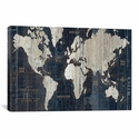 Old World Map Blue by Wild Apple Portfolio Gallery Wrapped Canvas Artwork - 26''W x 18''H x 0.75''D [WAC1993-1PC3-26X18-ICAN]