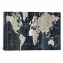 Old World Map Blue by Wild Apple Portfolio Oversized Gallery Wrapped Canvas Artwork - 60''W x 40''H x 1.5''D [WAC1993-1PC6-60X40-ICAN]