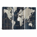 Old World Map Blue by Wild Apple Portfolio Triptych Gallery Wrapped Canvas Artwork - 60''W x 40''H x 1.5''D [WAC1993-3PC6-60X40-ICAN]