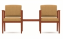 Amherst Series Open Arm Guest Chairs with Connecting Center Table [K2411G5-FS-RO]