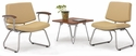 Orleans Reception Set - Chestnut End Table and Two Vinyl Guest Chairs in Vista Sandstone [E21300-SFG2VS11-FS-EOF]