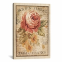 Parisian Flowers II by Danhui Nai Gallery Wrapped Canvas Artwork with Floating Frame - 19''W x 27''H x 1.5''D [WAC267-1PC6-26X18-FF01-ICAN]