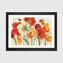 Poppies Melody I by Lisa Audit Artwork on Fine Art Paper with Black Matte Hardwood Frame - 24''W x 16''H x 1''D [WAC721-1PFA-24X16-FM01-ICAN]