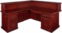Prestige 72''W x 36''D Double Pedestal Left Handed Reception Desk with Locking Drawers - Mahogany [TVRDL7236MH-FS-REG]