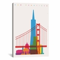 San Francisco by Yoni Alter Gallery Wrapped Canvas Artwork with Floating Frame - 19''W x 27''H x 1.5''D [YAL63-1PC6-26X18-FF01-ICAN]
