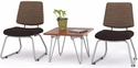 Orleans Guest Chairs - Set of Two - Backs in Underground Earth with Seats in Open House Coffee Bean and Chestnut Silver Frame End Table [E21200-SFG16183-FS-EOF]