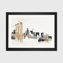 Skyline Crossing by Avery Tillmon Artwork on Fine Art Paper with Black Matte Hardwood Frame - 32''W x 24''H x 1''D [WAC3813-1PFA-32X24-FM01-ICAN]