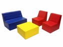 SoftZone® 4 Piece Fully Assembled Youth Seating and Table Set - Assorted Colors [ELR-12649-ECR]