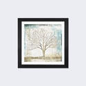 Solitary Tree Collage by All That Glitters Artwork on Fine Art Paper with Black Matte Hardwood Frame - 16''W x 16''H x 1''D [WAC3226-1PFA-16X16-FM01-ICAN]