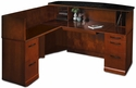Sorrento 72''W Reception Desk with Granite Counter and Left Hand Return - Bourbon Cherry [SRCSLMSCR-MAY]