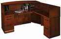 Sorrento 72''W Reception Desk with Veneer Counter and Right Hand Return - Bourbon Cherry [SRCSRSCR-FS-MAY]