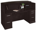 Sorrento 72''W Reception Desk with Veneer Counter - Espresso [SRCDESP-MAY]