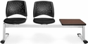 Stars 3-Beam Seating with 2 Black Fabric Seats and 1 Table - Mahogany Finish [323T-2224-MAH-MFO]