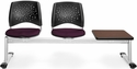 Stars 3-Beam Seating with 2 Burgundy Fabric Seats and 1 Table - Mahogany Finish [323T-2211-MAH-MFO]
