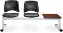 Stars 3-Beam Seating with 2 Charcoal Vinyl Seats and 1 Table - Cherry Finish [323T-VAM-604-CH-MFO]