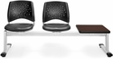 Stars 3-Beam Seating with 2 Charcoal Vinyl Seats and 1 Table - Mahogany Finish [323T-VAM-604-MH-MFO]