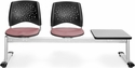 Stars 3-Beam Seating with 2 Coral Pink Fabric Seats and 1 Table - Gray Nebula Finish [323T-2208-GRY-MFO]
