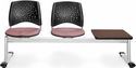 Stars 3-Beam Seating with 2 Coral Pink Fabric Seats and 1 Table - Mahogany Finish [323T-2208-MAH-MFO]