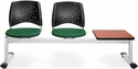 Stars 3-Beam Seating with 2 Forest Green Fabric Seats and 1 Table - Cherry Finish [323T-2221-CHRY-MFO]