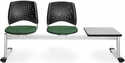 Stars 3-Beam Seating with 2 Forest Green Fabric Seats and 1 Table - Gray Nebula Finish [323T-2221-GRY-MFO]