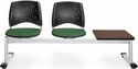 Stars 3-Beam Seating with 2 Forest Green Fabric Seats and 1 Table - Mahogany Finish [323T-2221-MAH-MFO]