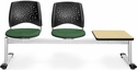 Stars 3-Beam Seating with 2 Forest Green Fabric Seats and 1 Table - Oak Finish [323T-2221-OAK-MFO]