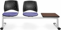 Stars 3-Beam Seating with 2 Lavender Fabric Seats and 1 Table - Mahogany Finish [323T-2202-MAH-MFO]