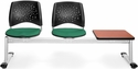 Stars 3-Beam Seating with 2 Shamrock Green Fabric Seats and 1 Table - Cherry Finish [323T-2201-CHRY-MFO]
