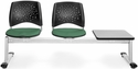 Stars 3-Beam Seating with 2 Shamrock Green Fabric Seats and 1 Table - Gray Nebula Finish [323T-2201-GRY-MFO]
