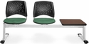 Stars 3-Beam Seating with 2 Shamrock Green Fabric Seats and 1 Table - Mahogany Finish [323T-2201-MAH-MFO]